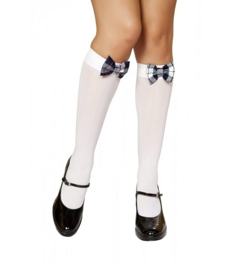 Knee High Stocking with Plaid Bows