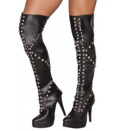 Black Spike Studded knee high Leggings.