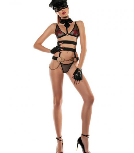 Role Play Officer Bra w/Attached Collar, Bottom w/Attached Handcuffs & Eye Mask