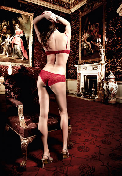 Lace Boyshort Large Red Flower S,M,L and X/L