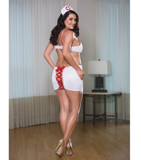 Nurse Bra Skirt Set White/Red 1X, 2X and 3X