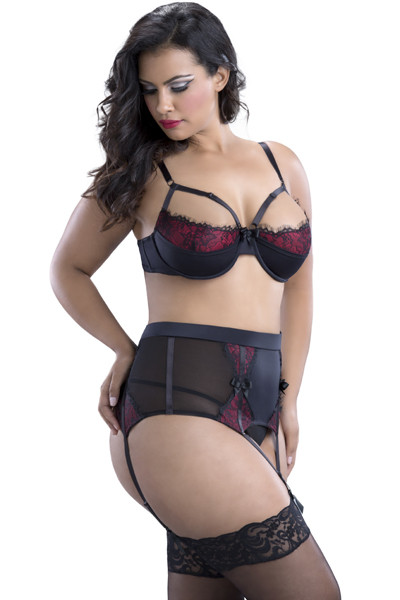 Demi Bra with Lace and Elastic Detail 1X, 2X, 3X and 4X